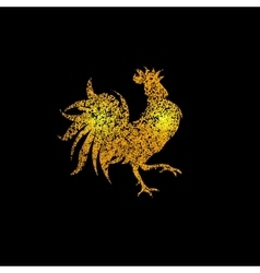 Stylized cock of golden sand on a black background vector image