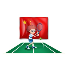A tennis player in front of the flag of china vector