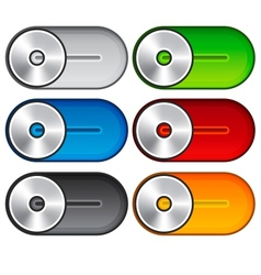 Set of metallic switches vector