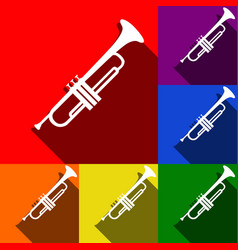 Musical instrument trumpet sign  set of vector
