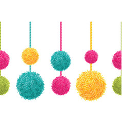 Fun colorful decorative hanging pompoms vector