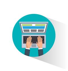 Hand man remote business digital marketing vector