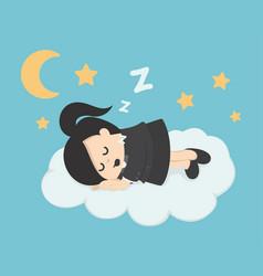 Business woman sleep on a cloud vector