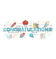 Congratulations word for celebration concept vector