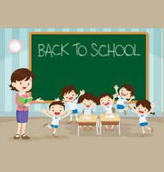 Teacher pupil back to school vector