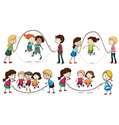 Children playing skipping rope vector