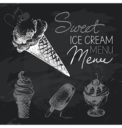 Ice cream hand drawn chalkboard design set vector