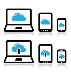 Cloud network on laptop tablet smartphone icons vector image