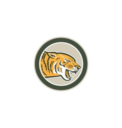 Angry Tiger Head Growling Side Circle Retro vector image
