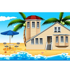 A vacation house at the beach vector