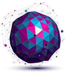Geometric colorful figure with wire mesh spherical vector