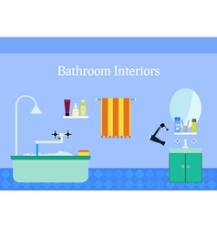 Bathroom interior with sink and mirror colorful vector