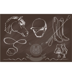 Silhouettes of horses and equipment player vector