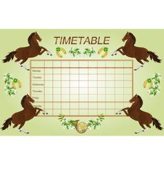 Timetable weekly schedule with dark brown horses vector