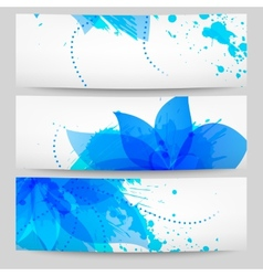 Set of three floral white-blue banners vector