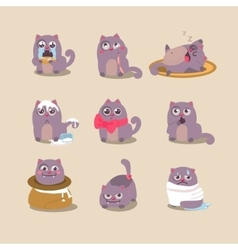 Set of cute cartoon cat in various poses vector