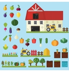 Farm in village elements for game vector