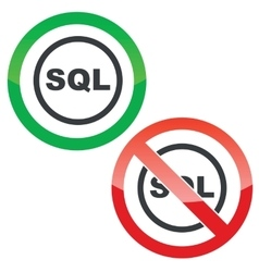 Sql permission signs vector