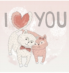 Valentines day card cute cats in love vector