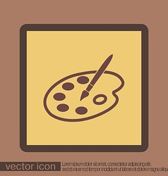 Palette with brush symbol of art icon painting vector