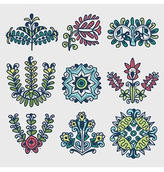 Floral folkloric elements vector