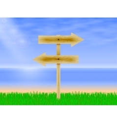 Wooden board with a direction vector image