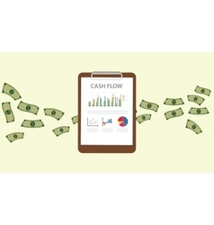 Cashflow with clipboard graph chart with money vector