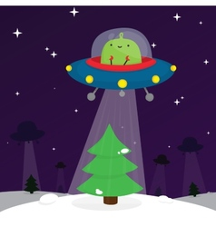 Alien and christmas tree vector