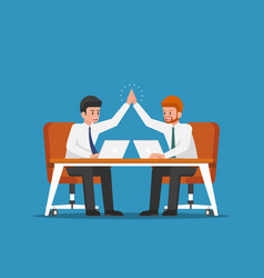 Businessman giving high five to each other vector