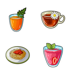Carrot juice in a glass chamomile tea in a cup vector