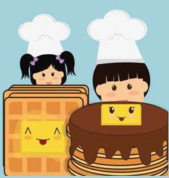 chef boy and girl pancake bread butter vector image
