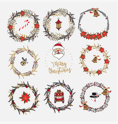 collection of christmas wreaths vector image vector image