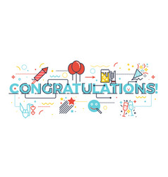 congratulations word for celebration concept vector image vector image