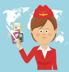 cute air hostess in red uniform over global map vector image vector image