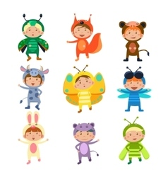Cute kids wearing insect and animal costumes vector