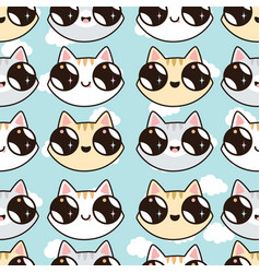 eamless pattern with kawaii kittens vector image vector image