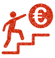 Euro business steps icon grunge watermark vector