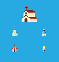 Flat icon christian set of structure church vector