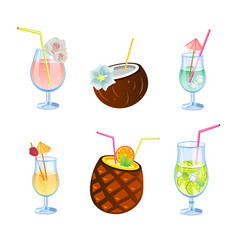 Flat icons set of popular alcohol cocktail vector