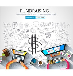 Fundraising concept with Doodle design style vector image