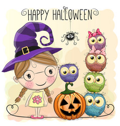 halloween card with girl and owls vector image