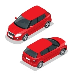 Hatchback car flat 3d isometric vector