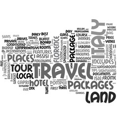 Italy land travel packages text background word vector