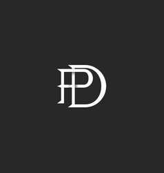 Letters pd logo monogram initials linear black and vector