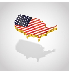 Map and flag of USA isolated vector image vector image