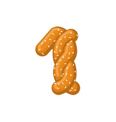 Number 1 pretzel snack font one symbol food vector