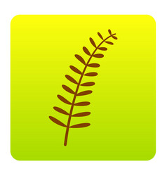 Olive twig sign brown icon at green vector