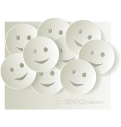Paper cut out smiley faces on light background vector image vector image