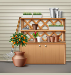 place for gardening tools vector image