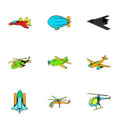 Plane icons set cartoon style vector